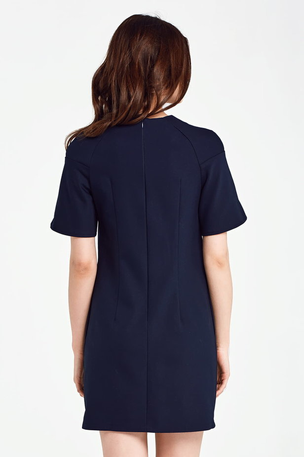 Dark blue dress with flared sleeves above the knee photo 4 - MustHave online store