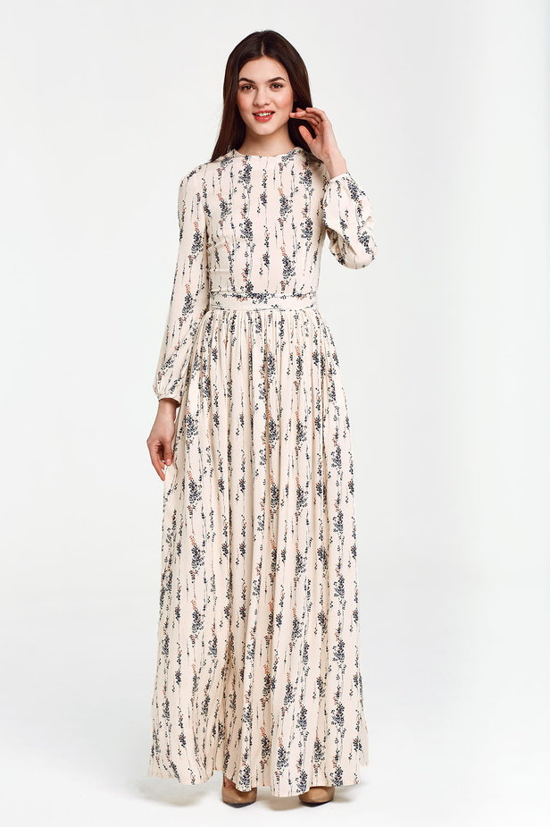 Maxi beige dress, floral print photo 1 - MustHave online store