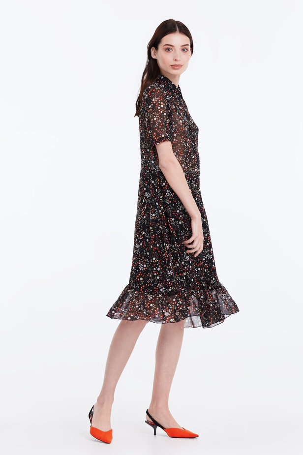 Black dress with a floral print, a shirt top and a flounce photo 7 - MustHave online store