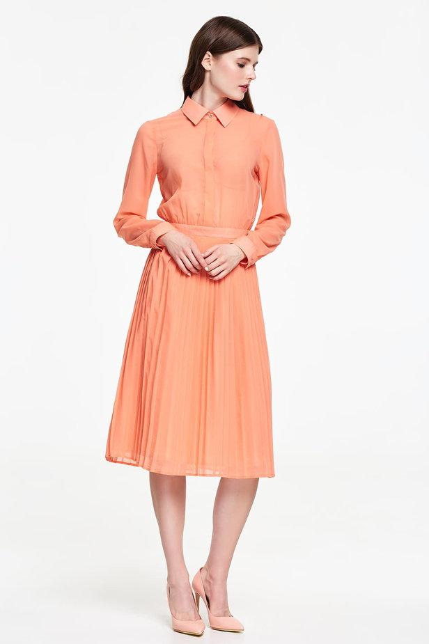 Below the knee orange shirt dress, pleated dress photo 5 - MustHave online store