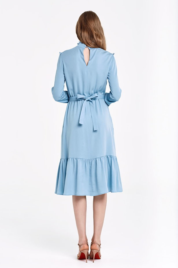 Blue dress with a ruffle yoke photo 5 - MustHave online store