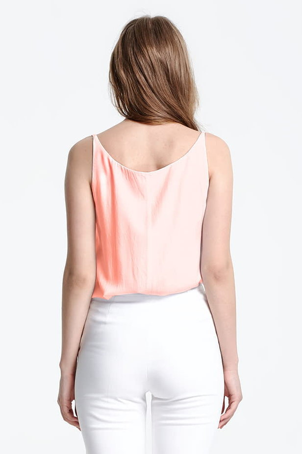 Peach top with a low neckline photo 3 - MustHave online store