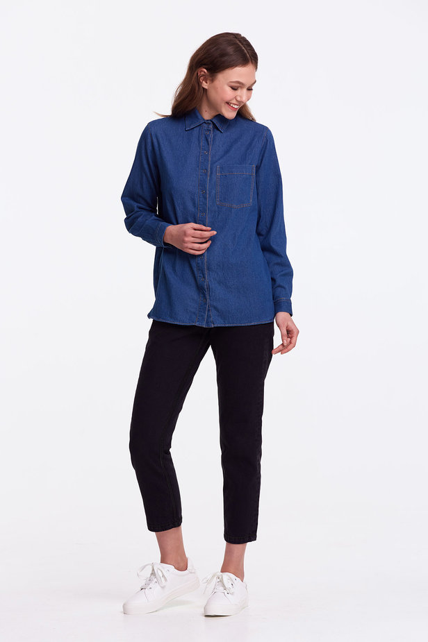 Light-blue denim shirt photo 3 - MustHave online store