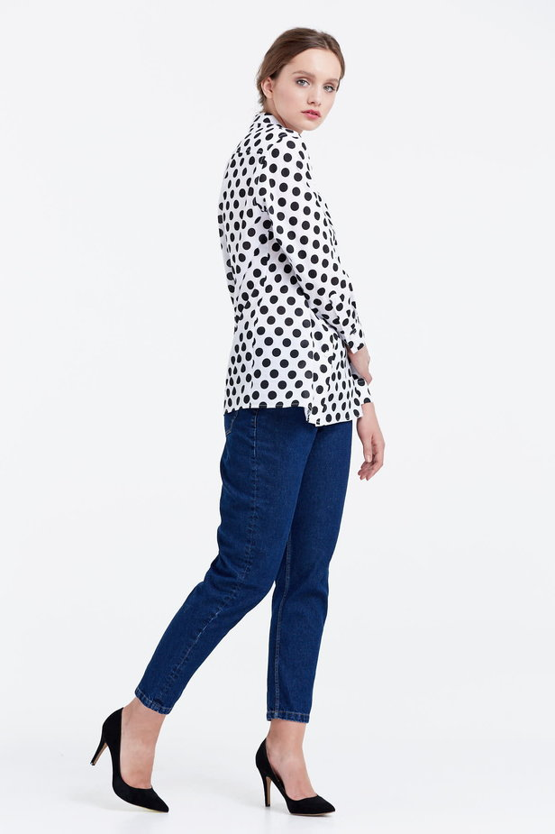 White shirt with a black polka dot print photo 5 - MustHave online store