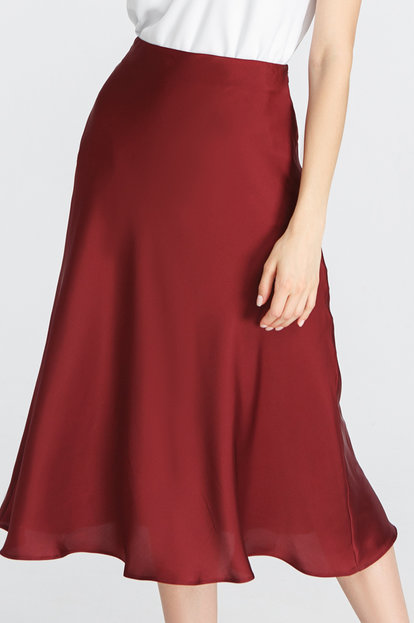 Burgundy satin skirt below the knee