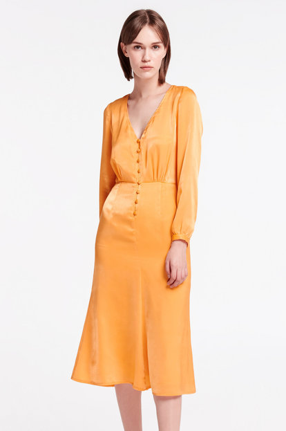 Yellow midi dress with buttons
