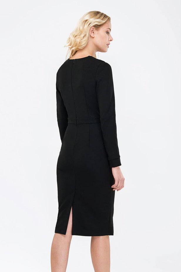 Black column dress with pleats on the chest photo 3 - MustHave online store