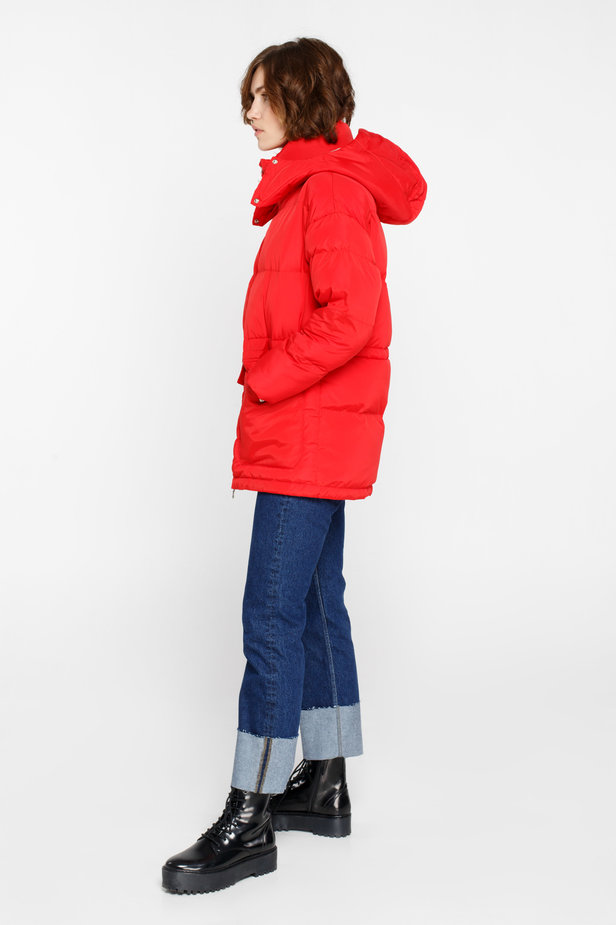 Red down jacket with a hood and pockets photo 5 - MustHave online store
