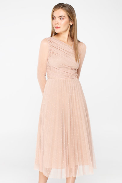 Pale pink tulle midi dress with pleated detail