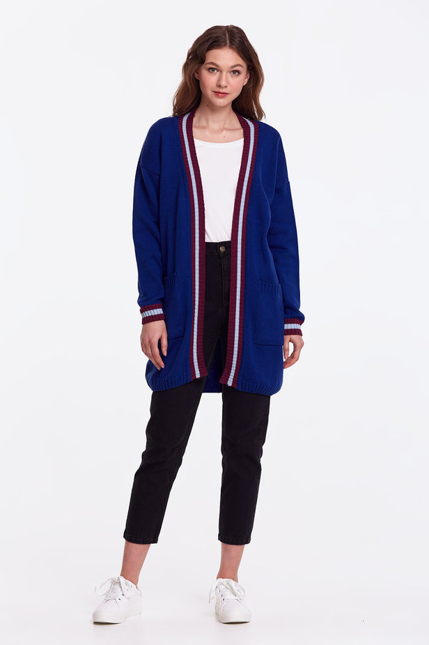 Blue cardigan with stripes photo 3 - MustHave online store