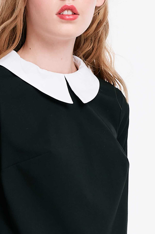 Black dress with a white collar photo 6 - MustHave online store