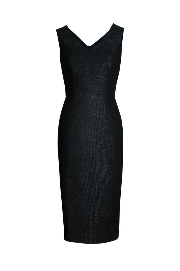 Black dress with lurex above the knee photo 2 - MustHave online store