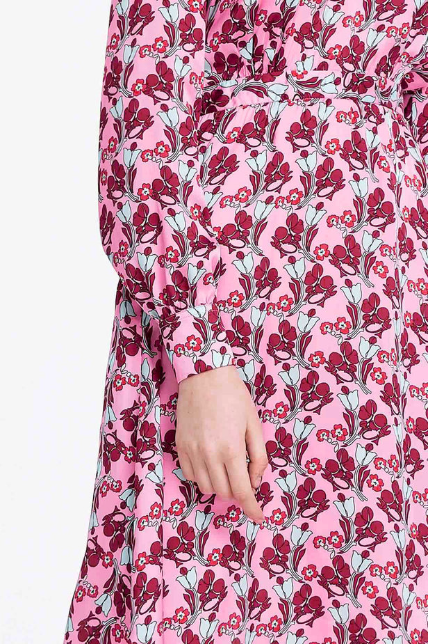 V-neck pink dress with a floral print photo 3 - MustHave online store