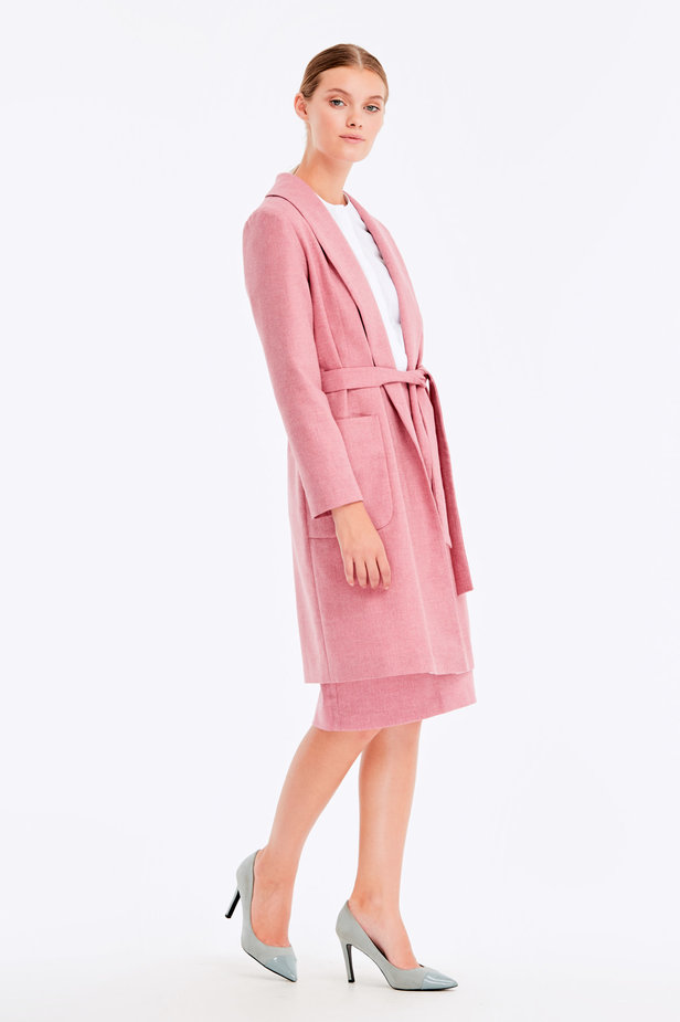 Long pink jacket with herringbone print photo 7 - MustHave online store