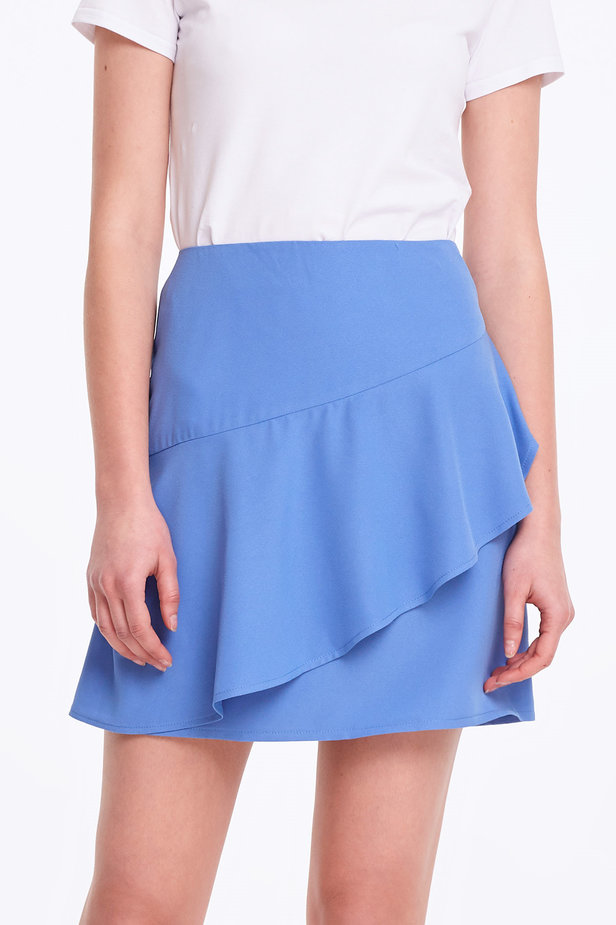 Mini blue skirt with a flounce photo 1 - MustHave online store