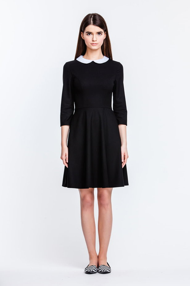 Above the knee black dress with a white collar photo 4 - MustHave online store