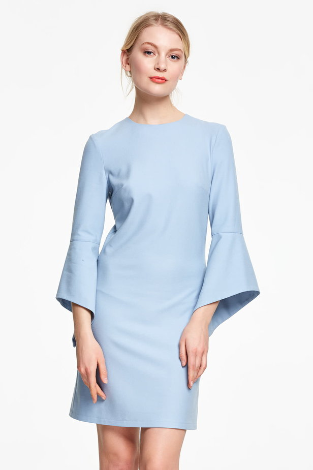 Above the knee blue dress with flounced sleeves photo 1 - MustHave online store