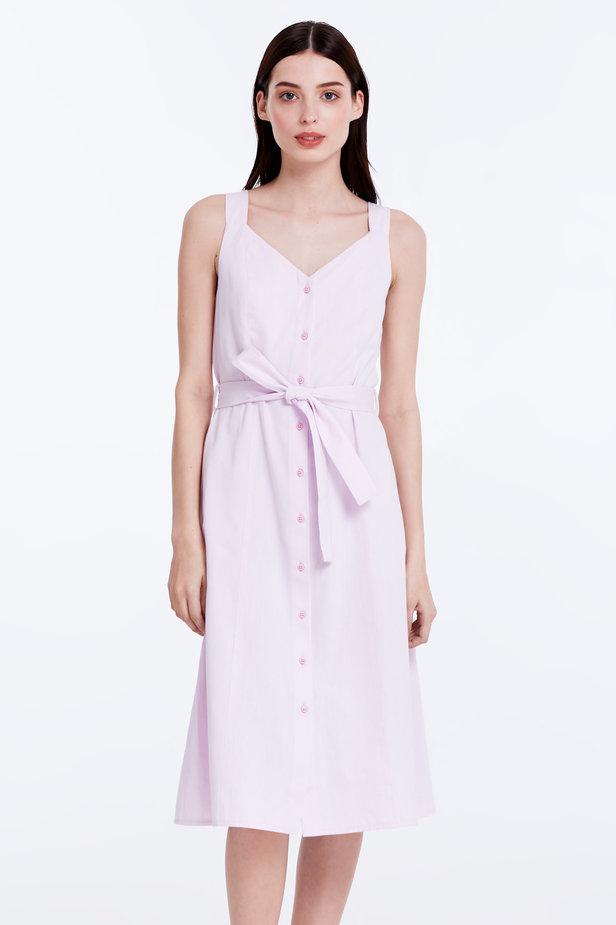 Light-pink sundress with a belt photo 1 - MustHave online store