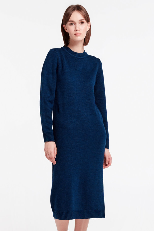 Dark-blue knit dress photo 1 - MustHave online store