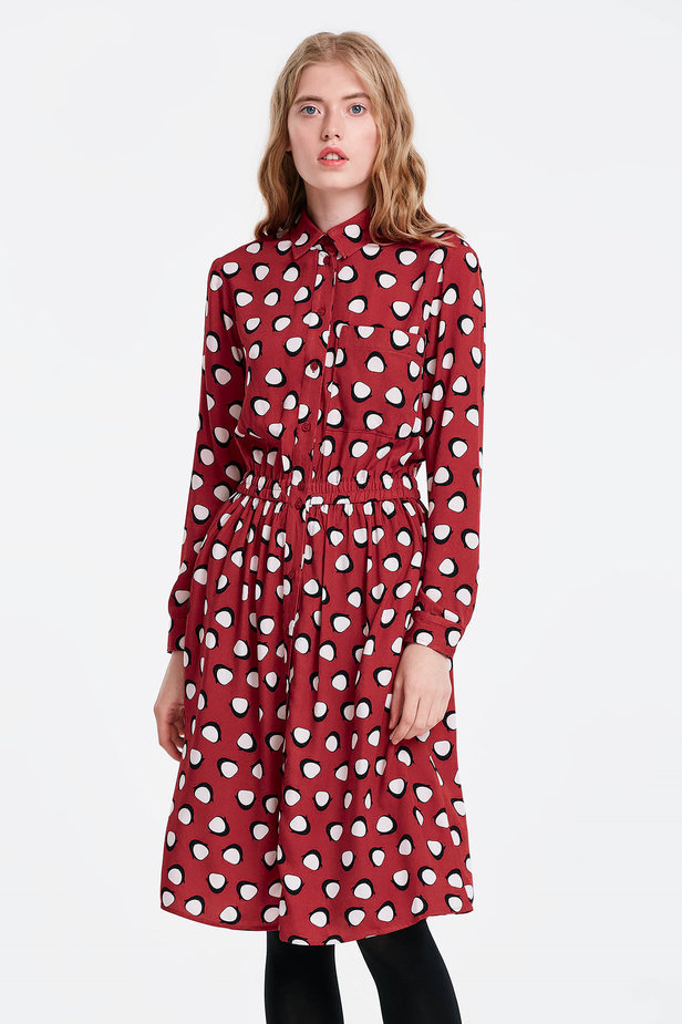 Red shirt dress, penguins print photo 1 - MustHave online store