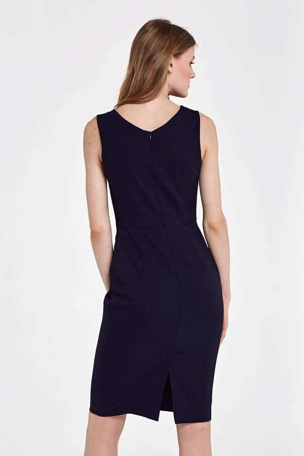 Below the knee column dark blue dress photo 4 - MustHave online store