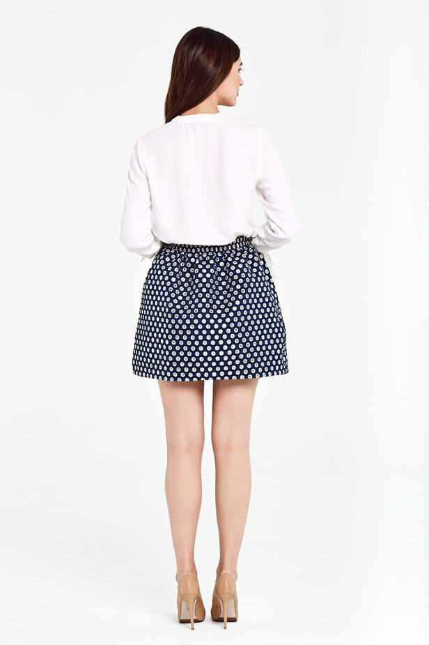 Dark blue skirt with an elastic waistband, polka dot print photo 5 - MustHave online store