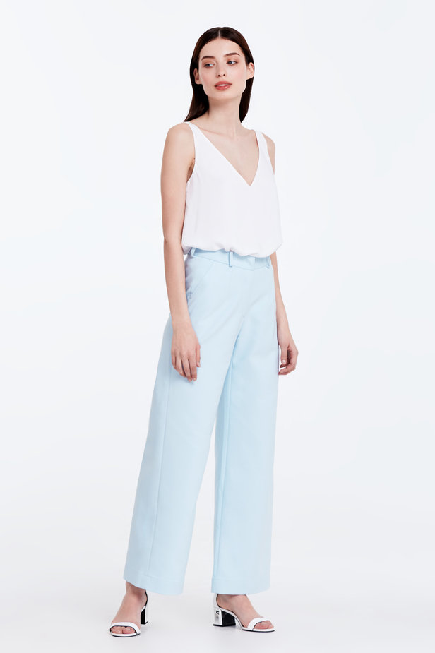 Wide leg blue trousers photo 3 - MustHave online store