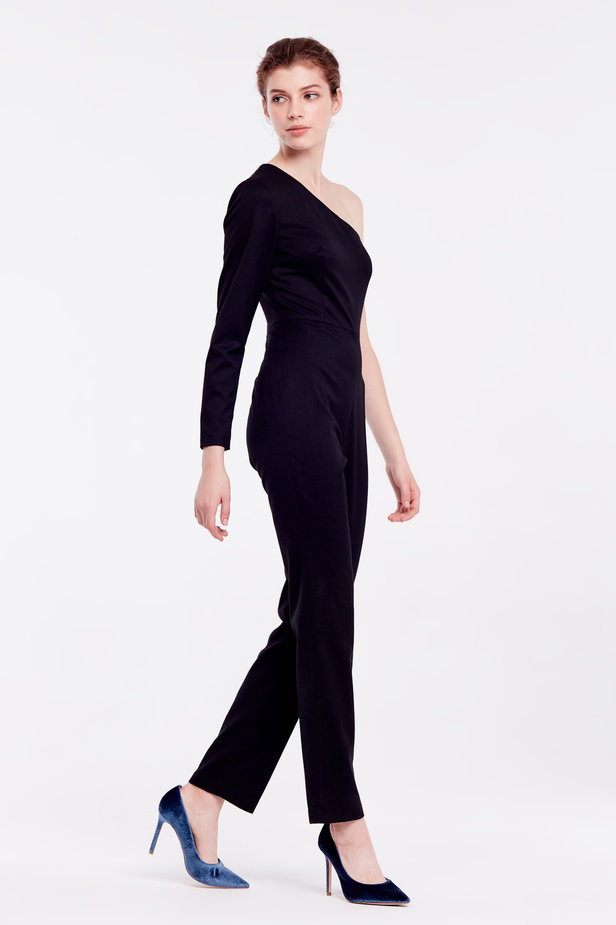 One shoulder black jumpsuit photo 5 - MustHave online store
