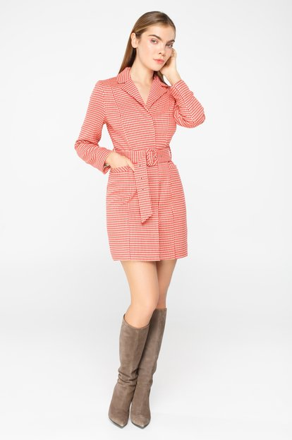 Red and beige houndstooth belted blazer dress