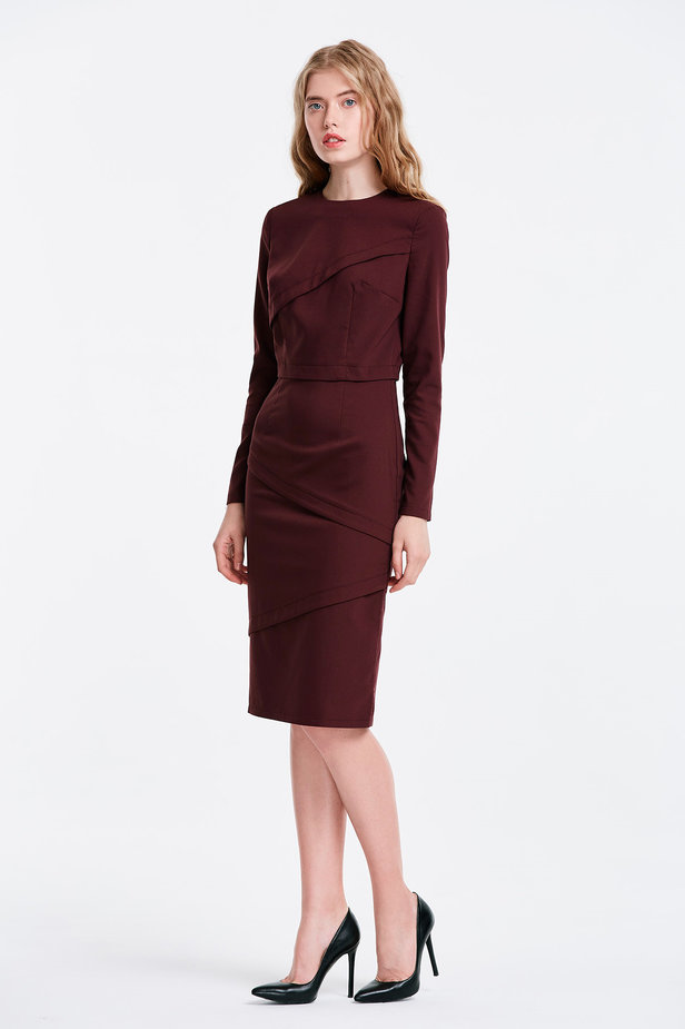 Burgundy dress with stripes photo 3 - MustHave online store