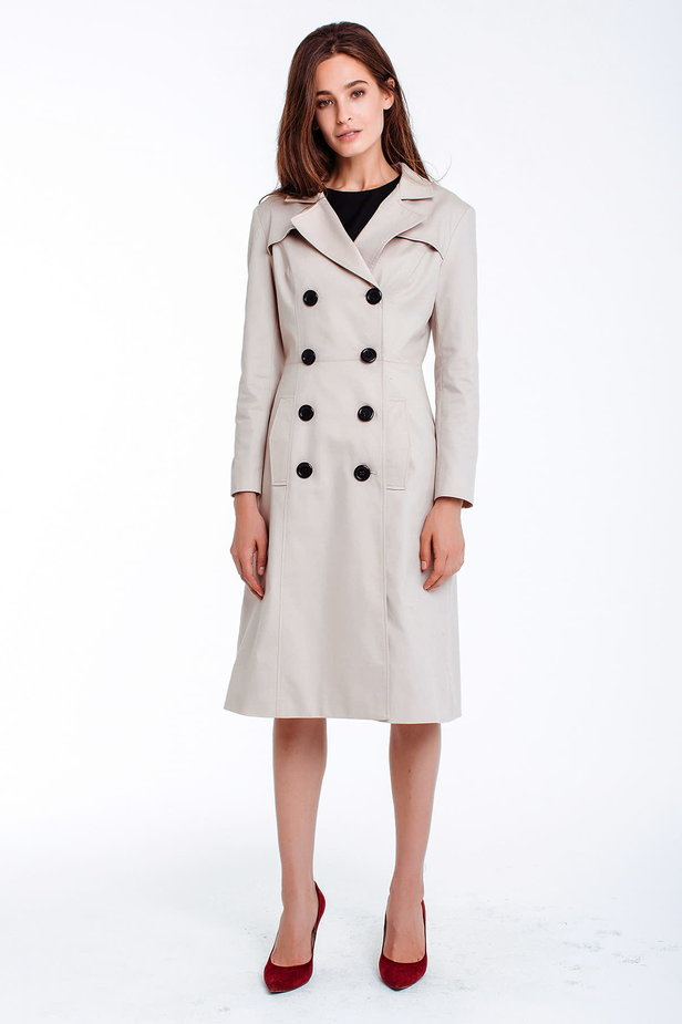 Double-breasted beige trenchcoat photo 1 - MustHave online store