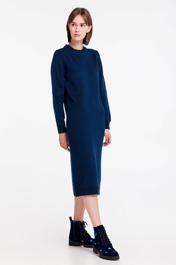 Dark-blue knit dress photo 6 - MustHave online store