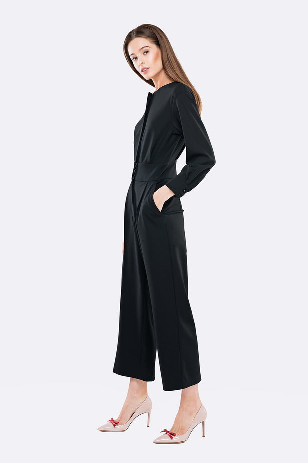 Black jumpsuit with a concealed placket photo 3 - MustHave online store