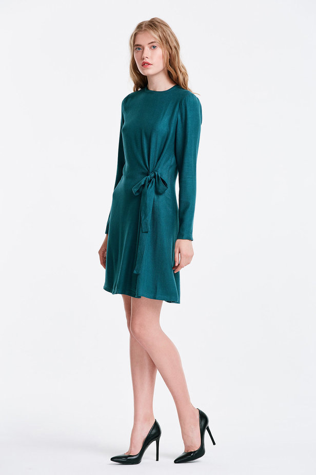 Marine green dress with ties photo 3 - MustHave online store