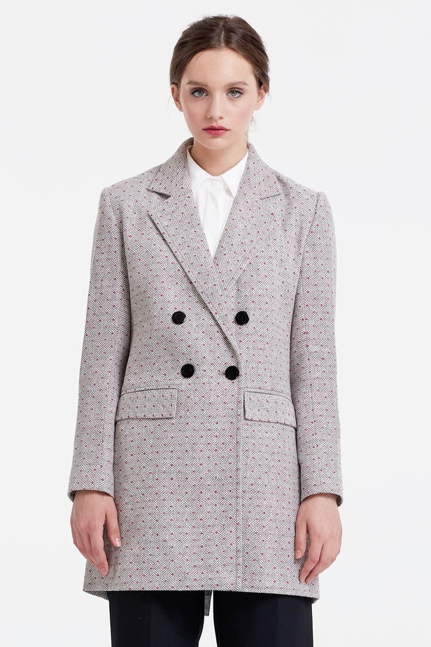 Long double-breasted jacket with rhombs and pink dots photo 1 - MustHave online store