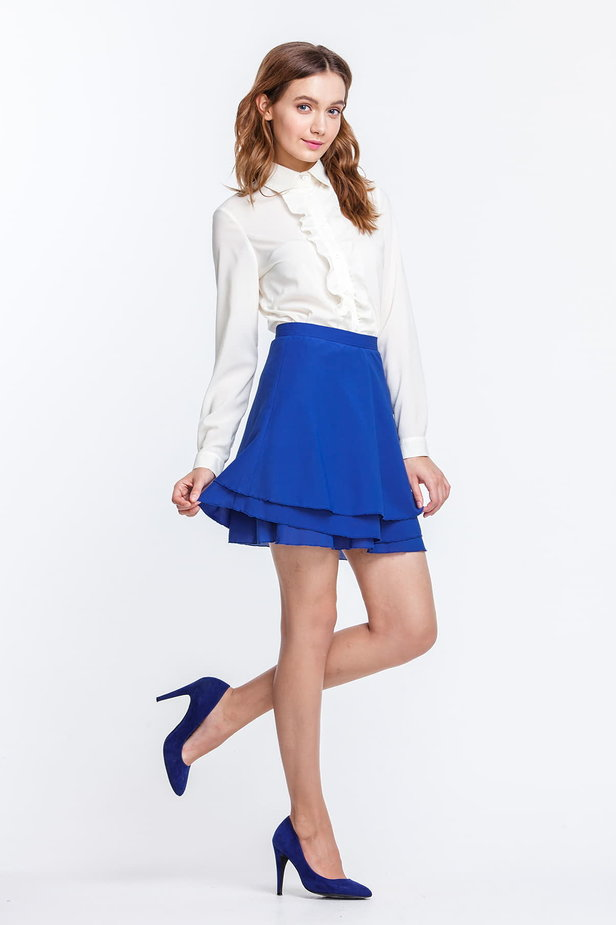 Mini blue chiffon skirt photo 3 - MustHave online store