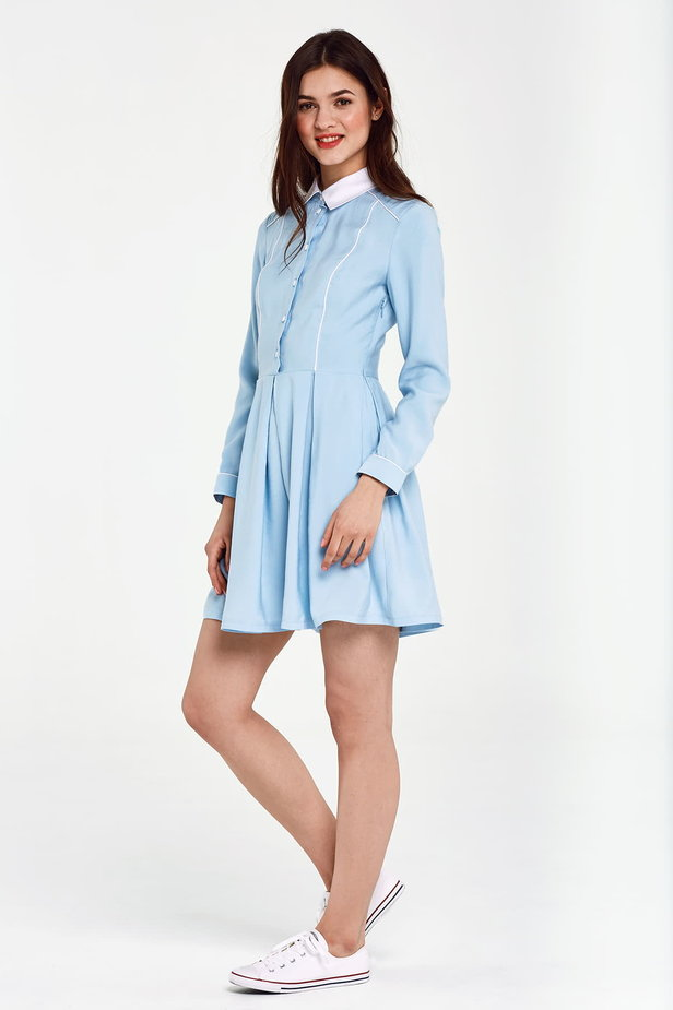 Blue dress with a white collar and piping photo 2 - MustHave online store