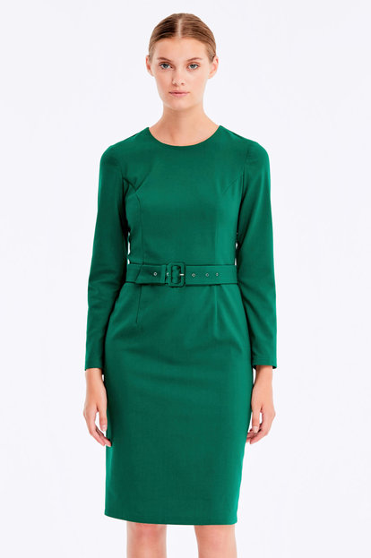 Green column dress