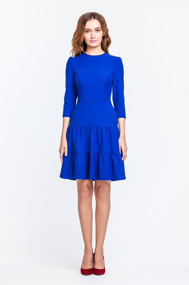 Blue dress with a threefold skirt and puffed sleeves photo 4 - MustHave online store