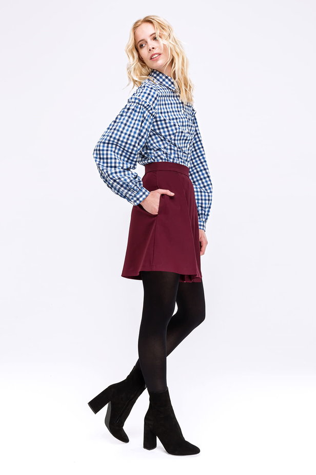 Checked shirt with ruffles on the sleeves photo 3 - MustHave online store