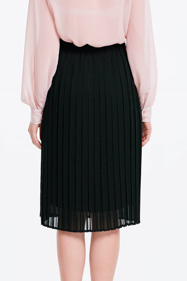 Below the knee pleated black skirt photo 2 - MustHave online store