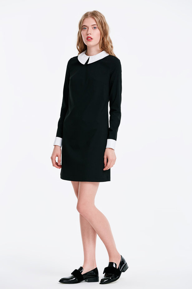 Black dress with a white collar photo 4 - MustHave online store