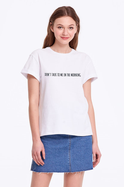White T-shirt with a print «Don`t talk to me in the morning»
