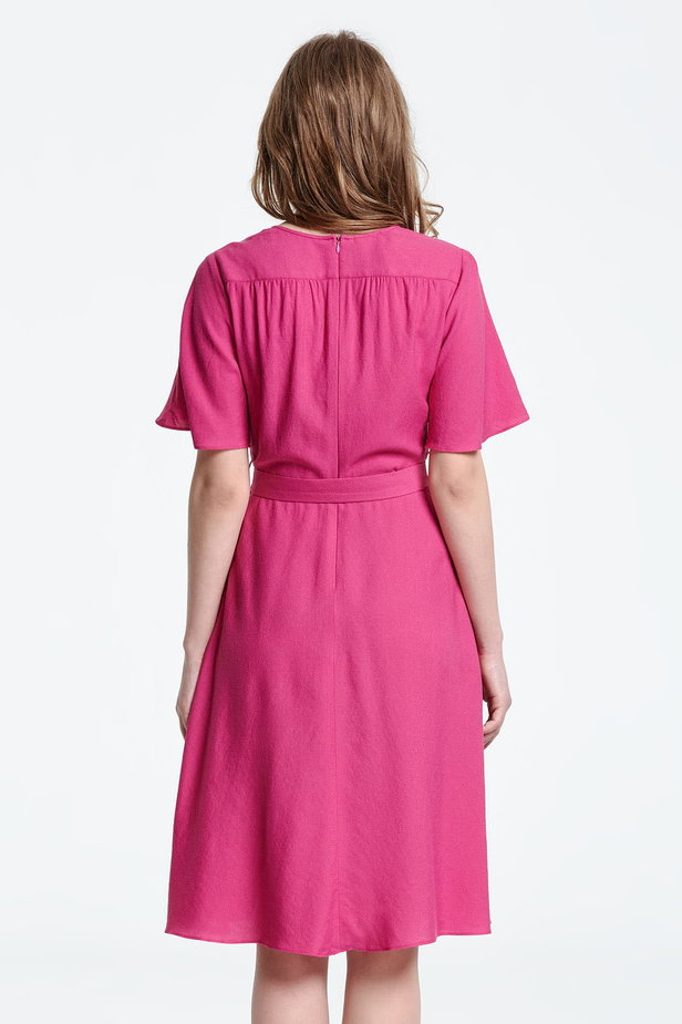 Below the knee wrap fuschia dress photo 4 - MustHave online store