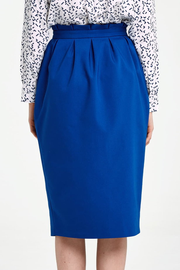 Blue skirt with buttons and ruffled belt photo 3 - MustHave online store