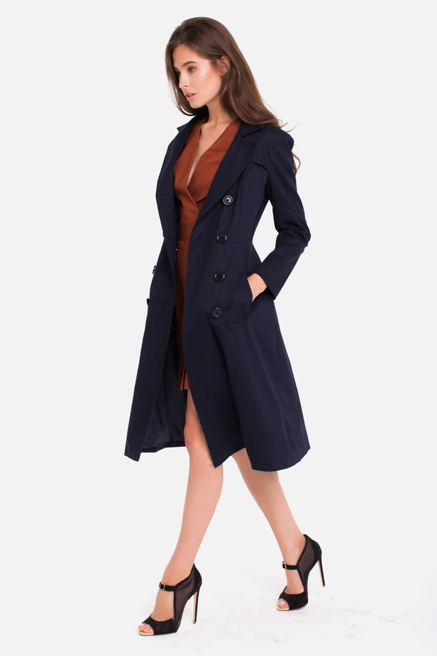 Double-breasted blue trenchcoat photo 4 - MustHave online store