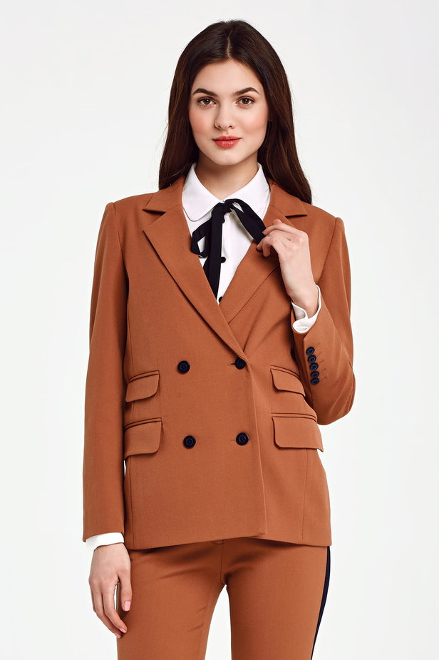 Double-breasted brown jacket with pockets photo 1 - MustHave online store