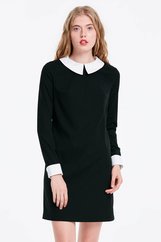 Black dress with a white collar photo 1 - MustHave online store