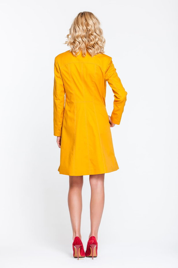 Mustard trenchcoat with a stand up collar photo 3 - MustHave online store