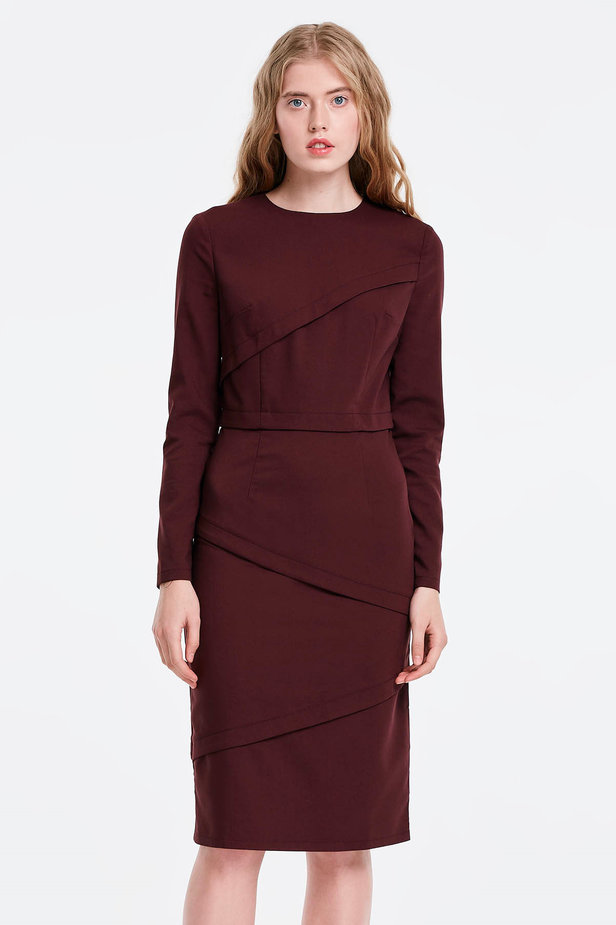 Burgundy dress with stripes photo 1 - MustHave online store